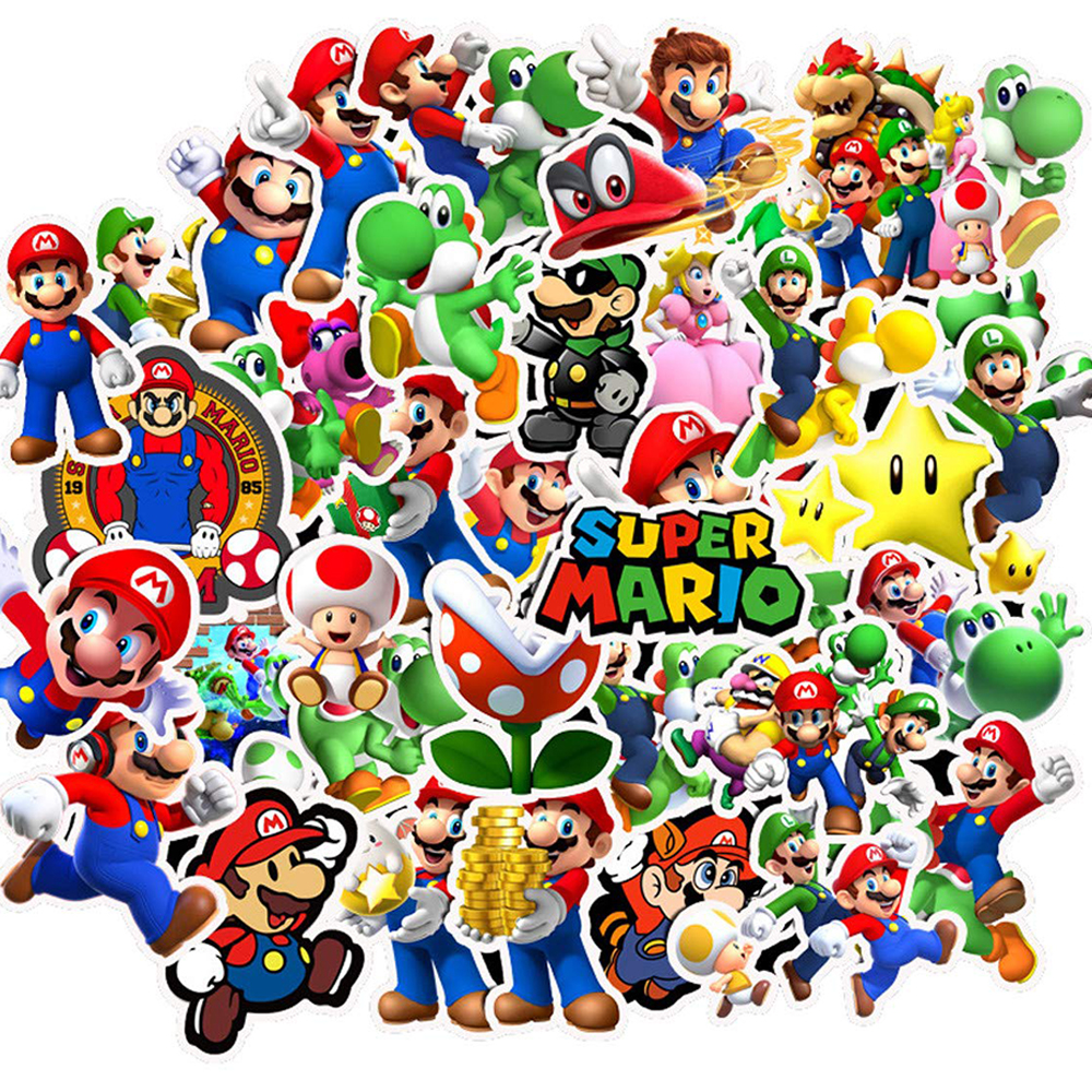 50PCS Super Mario Anime Game Cartoon Stickers DIY Bike Travel Luggage Phone Guitar Laptop Waterproof PVC Classic Toy Stickers