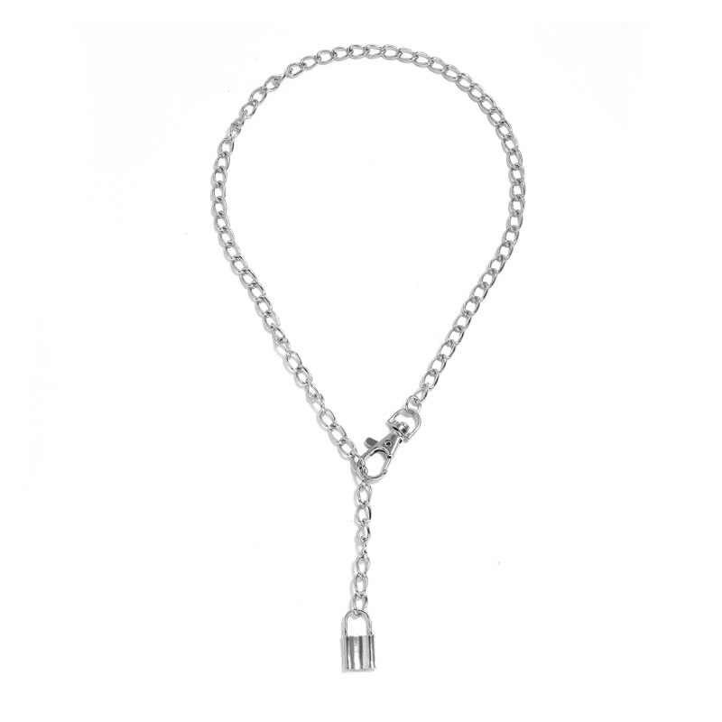 KMVEXO Punk Hiphop srebrny kolor Metal kłódka wisiorek naszyjniki dla kobiet mężczyzn Rolo kabel blokady łańcucha długi naszyjnik Party biżuteria