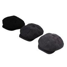 С закруглёнными краями и пуговицей сверху Кепки Для Мужчин Хлопчатобумажная восемь Панель шляпа Для женщин Бейкер кепки для мальчиков в стиле ретро большой Шапки мужской черный берет
