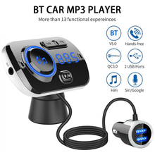 Dual USB Charger Car bluetooth Handsfree FM Transmitter MP3 Player For iPhone X XR XS Max Car TF 3.1A USB Fast Charger цена 2017