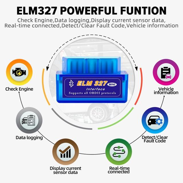 OBD2 Super Mini ELM327 V1.5 PIC18F25K80 Chip elm 327 Bluetooth V2.1 code reader Auto Scanner Adapter Diagnostic Tool for Android 2