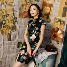 Hot Sale Ladies Print Satin Cheongsam Chinese Style Short Qipao Summer Formal Dress Novelty National Dress S 3XL