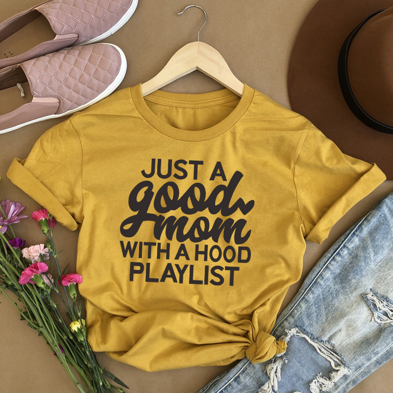 Just a Good Mom with Hood Playlist Women's T-Shirts Mother's Day Gift Tees Female Funny Slogan T Shirt Aesthetic Vintage Tshirt image