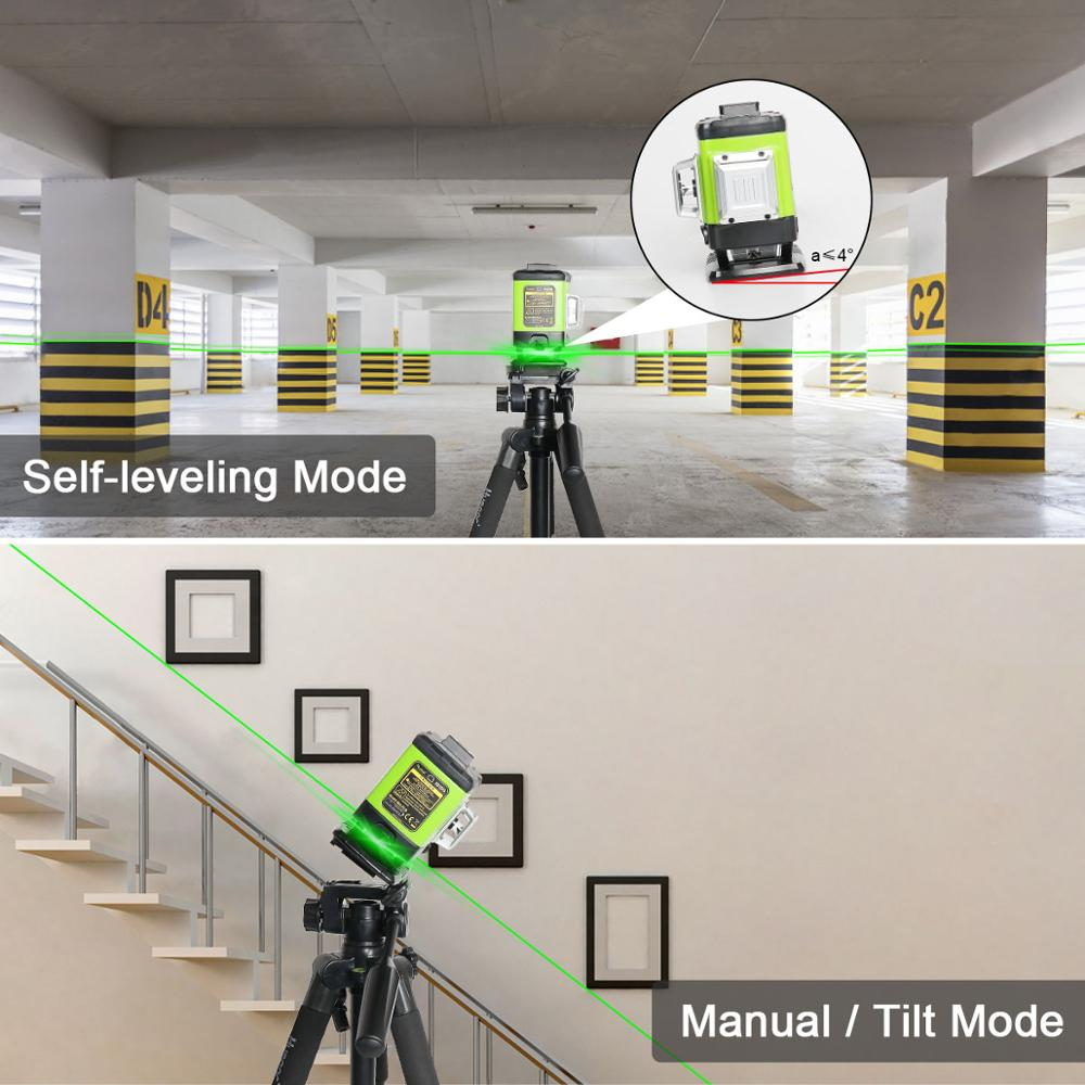 Tools : Huepar 3D Self-leveling Laser Level Green Beam Cross Line Alignment and Tiling Floor  with Remote Control  amp  Hard Carry Case