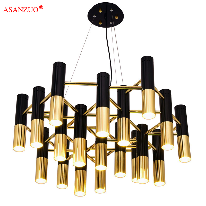 Post-modern living room dining room chandelier black gold personality bar Nordic master bedroom single head bedside lamp