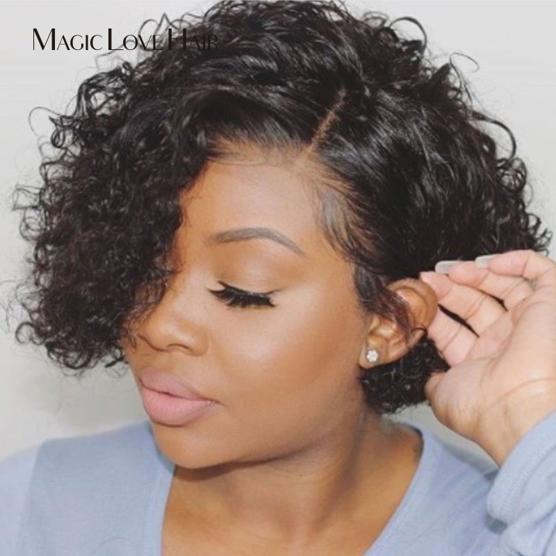Magic Love Curly Human Hair Wig Lace Front Human Hair Wigs Short Deep Wavy Bob Brazilian With Pre Plucked For Women