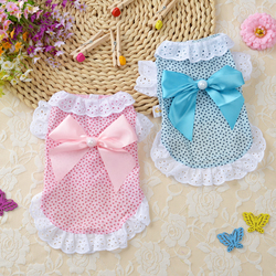Cat Clothes Dog Wedding Dress Cotton Lace Floral Dress Large Bowknot Pet Dog Dress Summer Clothing For Small Medium Dog Supplies
