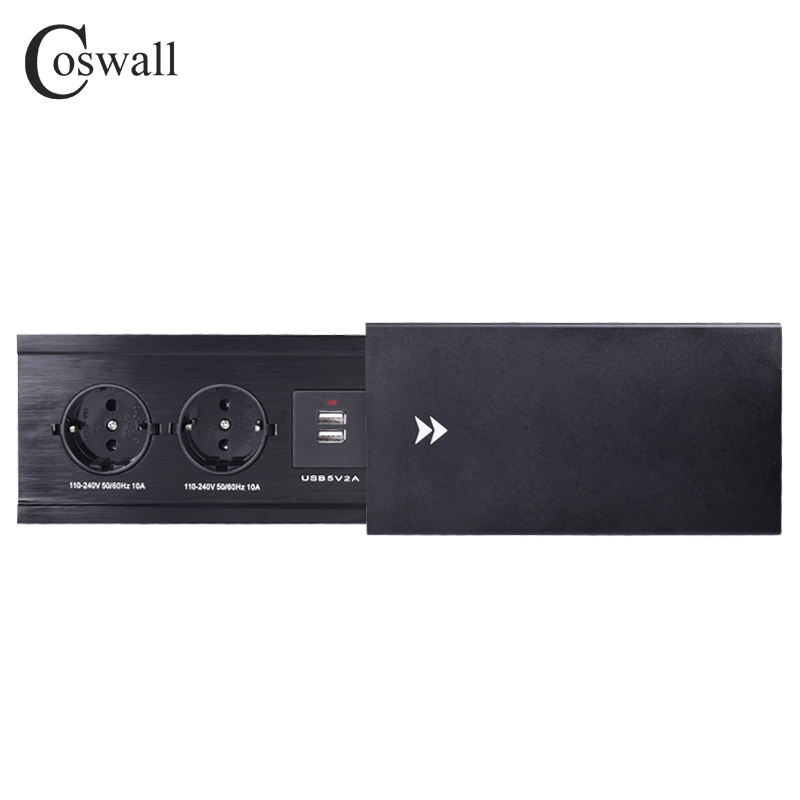COSWALL ALL Aluminum Alloy Plate Slide Type Hidden 2 Power EU Socket Dual USB Charge Port Office Table Outlet Matte Black Cover