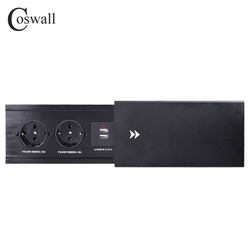 Coswall Alle Aluminium Plaat Slide Type Verborgen 2 Power Eu Socket Dual Usb Charge Port Kantoor Tafel Outlet Matte zwarte Cover