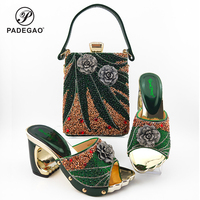Buckle Strap Sandal in Green Color Italian Women Shoes and Bag to Match Nigerian Lady Shoes Matching Hang Bag for Party