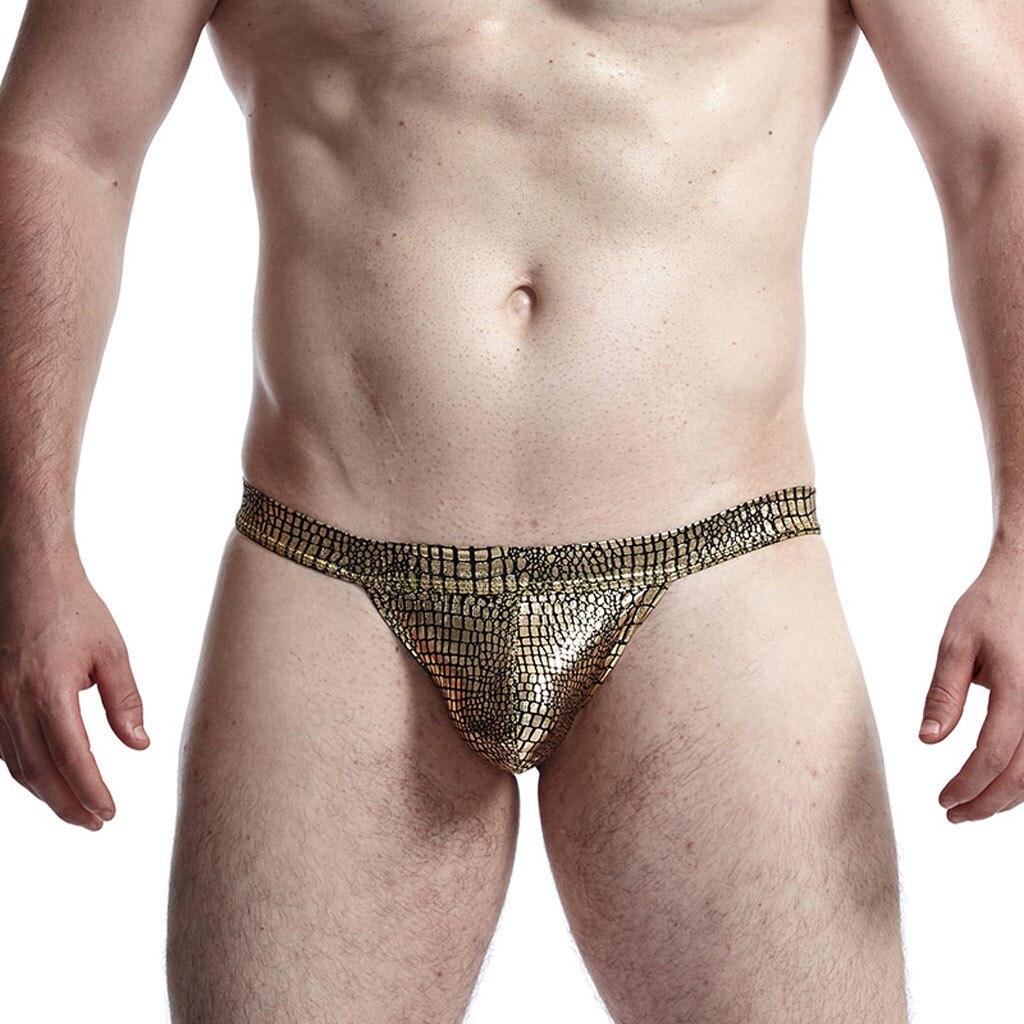 Men's Underwear Sexy Briefs Low-waist Snake Fabric U Convex Sexy Buttocks Jockstrap Panties Men's Thong Gay Men Underwear Briefs