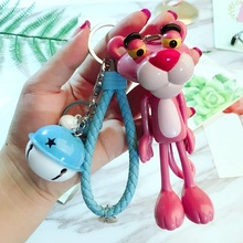 2019 Cartoon Pink Panther Key chain Women Car Bag Charm Pendant Keychains leather bell Key Ring Pendant Fashion High quality цена и фото