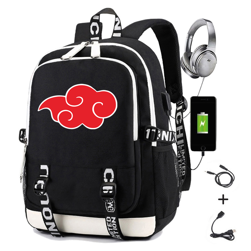 Naruto Backpack For Men Print Akatsuki Uchiha Itachi Sasuke Uchih Charging USB Women Laptop Backpack Travel Casual Daypacks