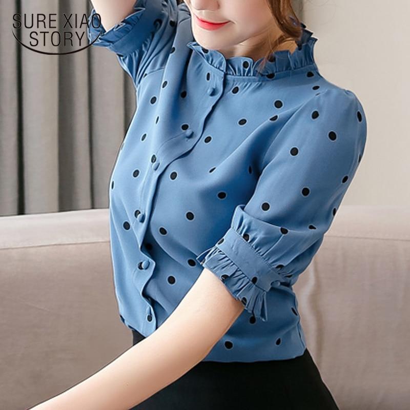 2019 New Chiffon Shirts Women Shirt  Summer Shirt Women Tops Dot Printed Fashion Korean Blue Pink Short Sleeves Blouse 5700 50