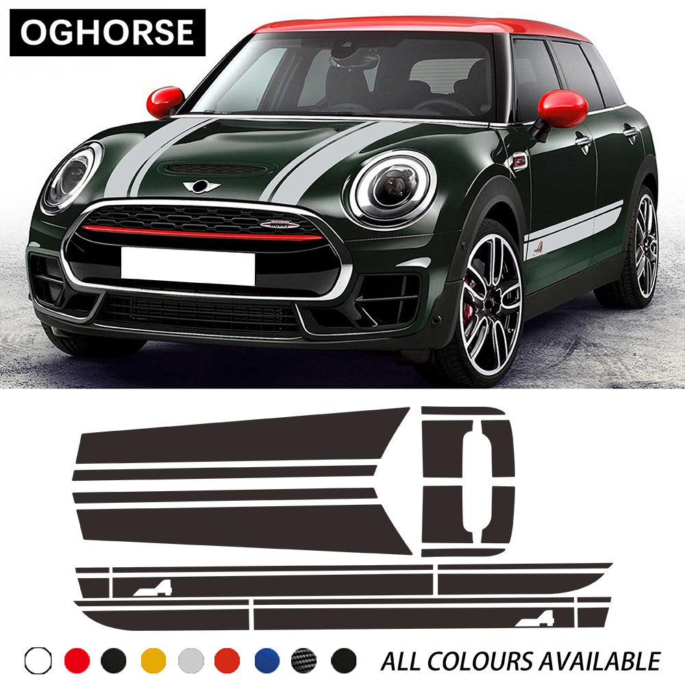 Car Hood Bonnet Racing Stripes Engine Cover Trunk Rear Side Stripes Sticker Body Kit Decal For MINI JCW Clubman F54 Accessories