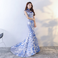 Qipao dress Fashion Lady Clothes Chinese Style Wedding Long Cheongsam Sexy Slim Party Evening Dress Retro Marriage Gown