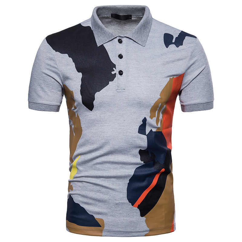 48f7d8963c899 2019wish Express Amazon summer new men's fashion camouflage printing lapel  short-sleeved casual T-shirt