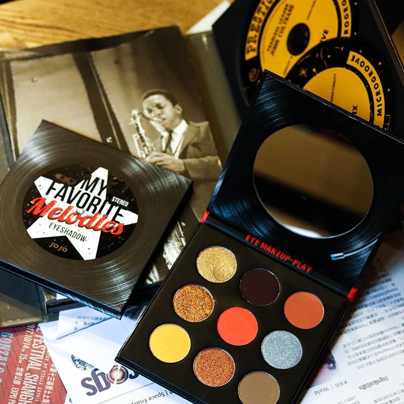 JOJO Retro Vinyl Tape CD Record Nine Color Eyeshadow Compact Modern Retro Pearly Lustre Matte Eyeshadow Compact