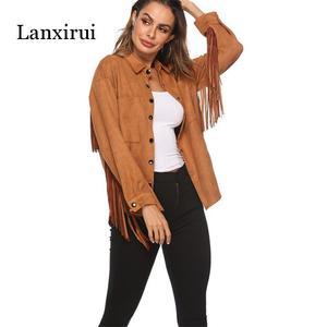 Image 2 - New Fringed long sleeve cashmere jacket spring summer women Plus Overcoat Outwear Fashion Female Warm Windproof coat