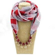 цены Natural stone metal pendant Ethnic necklace drop gem tassel scarf shawl fall/winter women scarf chiffon printed pendant scarf