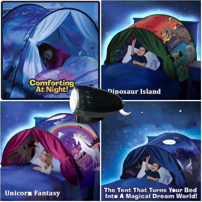 Kinder Bettwäsche Zelt Led Licht 3D Gedruckt Mädchen Jungen Room Decor Vorhang Spielen Zone Einhorn Stern Privaten Raum Beleuchtung Zelt