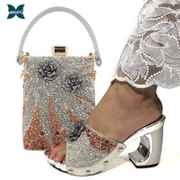 2020 New Arrival Fashionable Italian design Silver Color Lady Shoes and Bag Sets with Appliques for African Wedding and Party