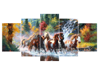 100% Full 5D Diy Daimond Painting Cross-stitch Horse Multi-picture Combination Round Rhinestone Painting Embroidery Diamant фото