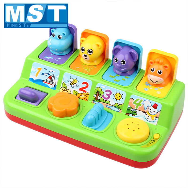 Education Interactive Baby Toys Early Development Musical Pop-Up Animal Peekaboo Switch Box Button Game For Kids