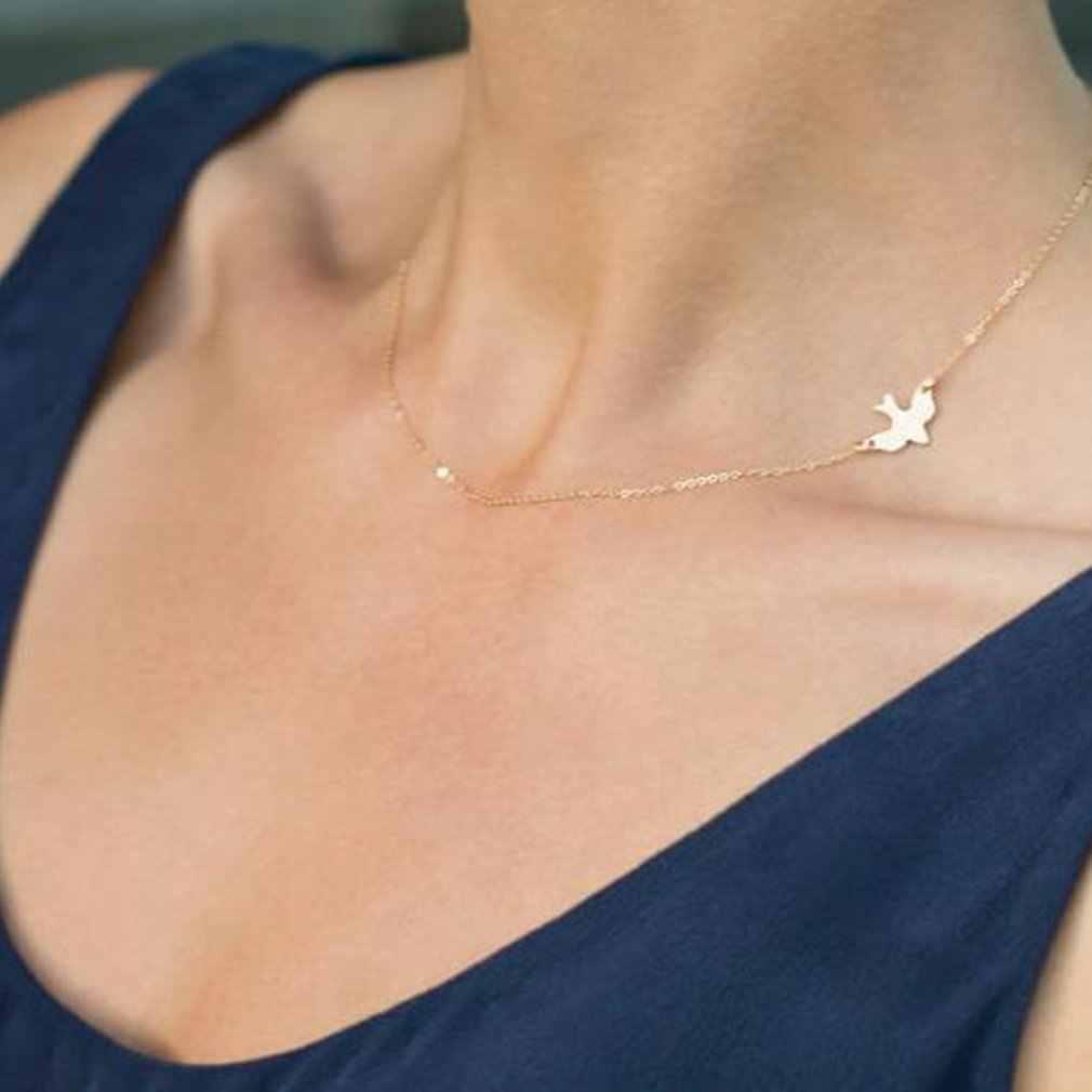 Moda kobieta naszyjnik proste ptak gołąb łańcuszek do obojczyka biżuteria dla Dropshipping