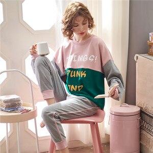 Image 3 - JRMISSLI conjuntos de pijamas de otoño para mujer, ropa de dormir de manga larga, 100% de algodón, para estar en casa