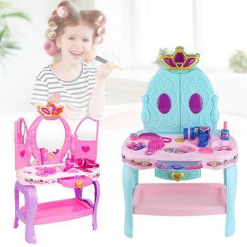 Vanity Set Girls Toys Makeup Accessories With Flashing Lights Big Mirror Cosmetics Hair Dryer Fashion Toy Kit Pretend Play Set