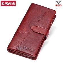 KAVIS Genuine Leather Women Wallet Female Long Clutch Lady Walet Portomonee Rfid Luxury Brand Money Bag Magic Zipper Coin Purse