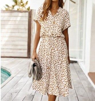Vestido Midi informal de verano con estampado de leopardo, holgado