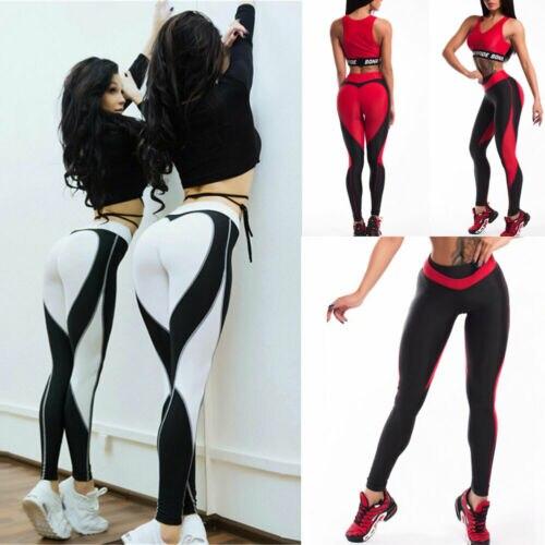 Sport Pants Leggings Women High Waist   Fitness Striped Love Print Leggings Running Workout Gym Trousers