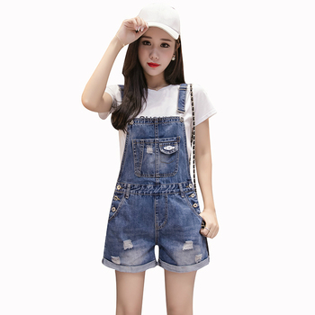 Summer Casual Ripped Hole Short Denim Overalls Women Loose High Waist Jeans Romper Playsuit Jumpsuit Streetwear Female Clothing 2018 summer female sexy bodycon jumpsuit solid high waist romper casual bandage romper streetwear