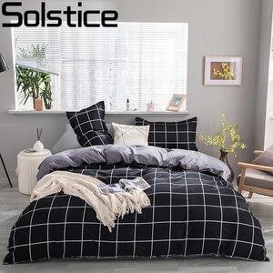 Solstice Home Textile Simple Nordic Bedding Set Boy Teenage Adult Girl Bed Linen Black White Stripe Duvet Cover Pillowcase Sheet(China)