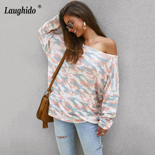 Laughido Autumn Long Sleeve Camouflage Print T Shirt Women 2019 Casual Sexy Pullovers Tops Pink Off Shoulder Knitted Tee Shirts