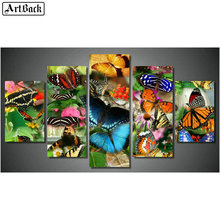 ArtBack Five Spell Diamond Painting Butterfly Family 5d Square Mosaic Sticker Decorative