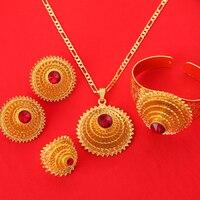 Conjunto de joyería africana de oro de 24k, joyería africana al estilo, rojo, verde, azul, etíope, a la moda