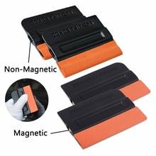 EHDIS 4pcs Suede Felt Magnetic Squeegee Carbon Fiber Vinyl Film Wrap Scraper Window Washing Spatula Cleaner Car Foil Tint Tools
