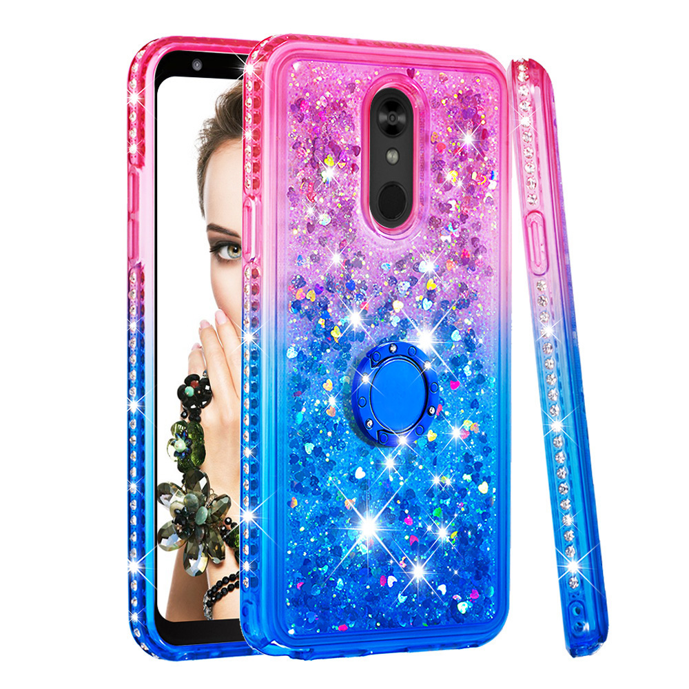 Glitter Stand Quicksand Ring Case For LG G7 Thinq Stylo 4 5 Plus Aristo 2 W10 W30 X Power3 K40 W30 Silicon Soft Shockproof Cover