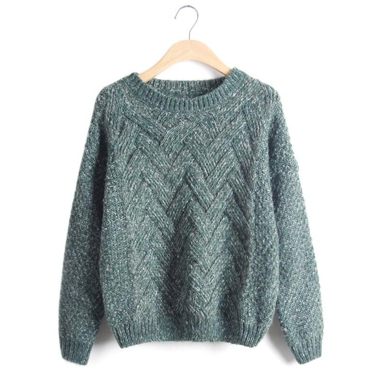 Винтажный женский зимний теплый свитер, пуловеры с круглым вырезом, женские осенние свитера с длинным рукавом, базовые женские вязаные