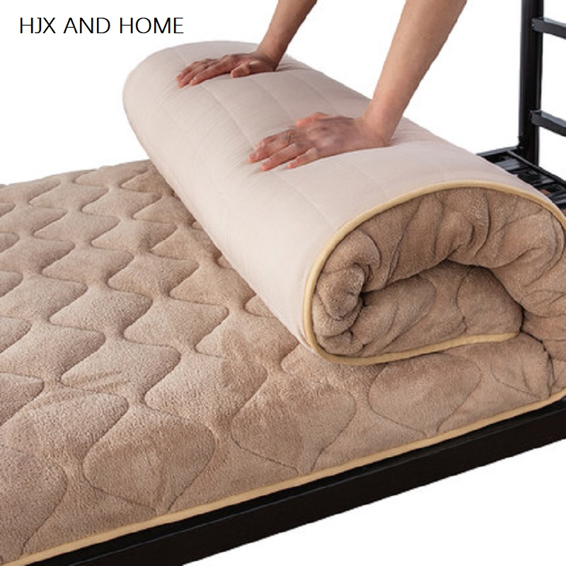 Strengthen Warmth Coral Fleece Student Dormitory Single Mattresses Foldable Mats King Queen Twin Full Size Bed Product