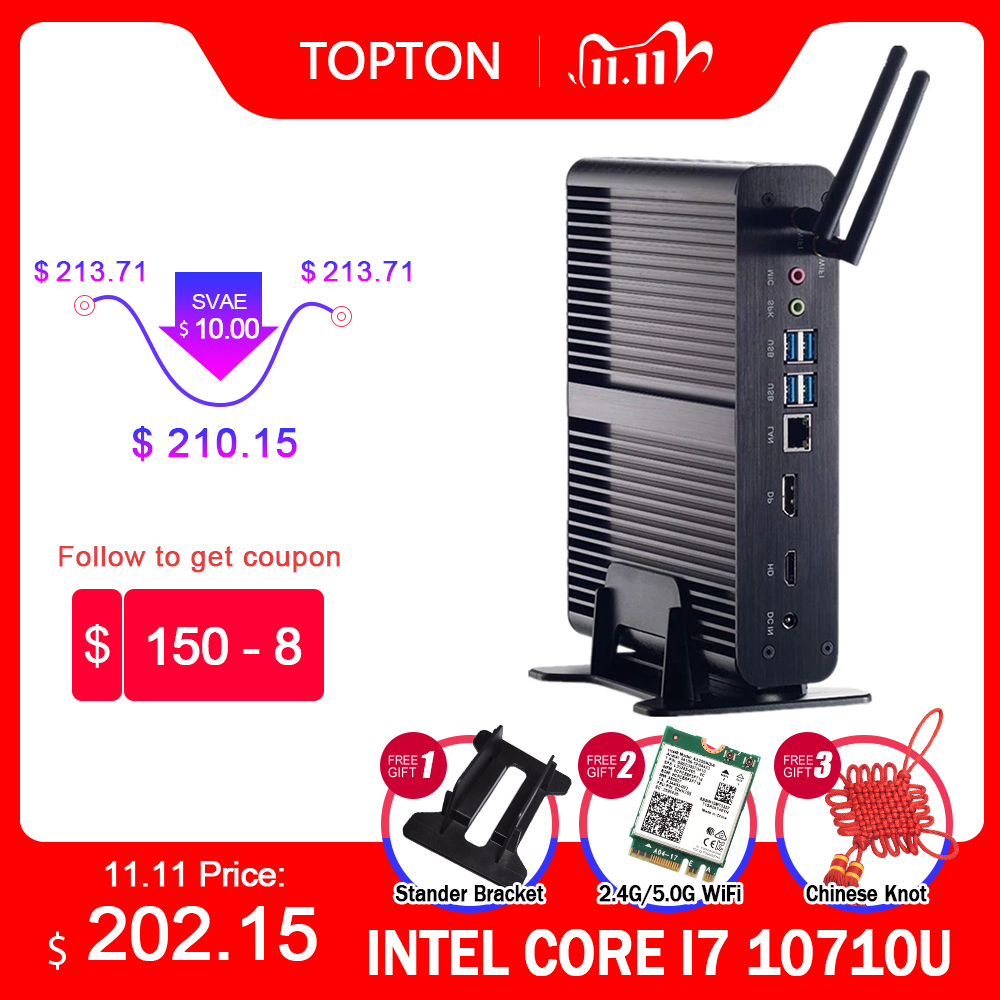 Topton Fanless Mini PC Intel Core i7 10510U 10710U i5 8265U Mini Computer Nuc 2*DDR4 M.2+Msata+2.5''SATA 4K HTPC Nettop HDMI DP-0