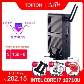 Topton Fanless Mini PC Intel Core i7 10510U 10710U i5 8265U Mini Computer Nuc 2*DDR4 M.2+Msata+2.5''SATA 4K HTPC Nettop HDMI DP