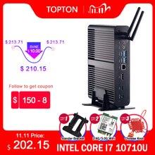 Topton fanless mini pc intel core i7 10510u 10710u i5 8265u mini computador nuc 2 * ddr4 m.2 + msata + 2.5 dp sata 4k htpc nettop hdmi dp