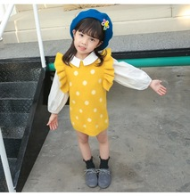 New autumn children long-section cute dot jacquard sleeveless wool vest dress for girls