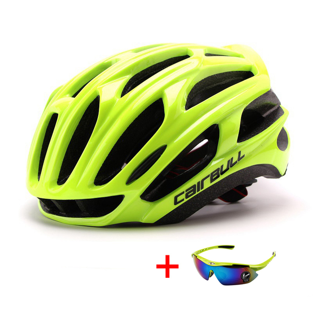 Ultralight racing ciclismo capacete com óculos de sol intergrally-moldado mtb capacete da bicicleta esportes ao ar livre montanha estrada capacete 6