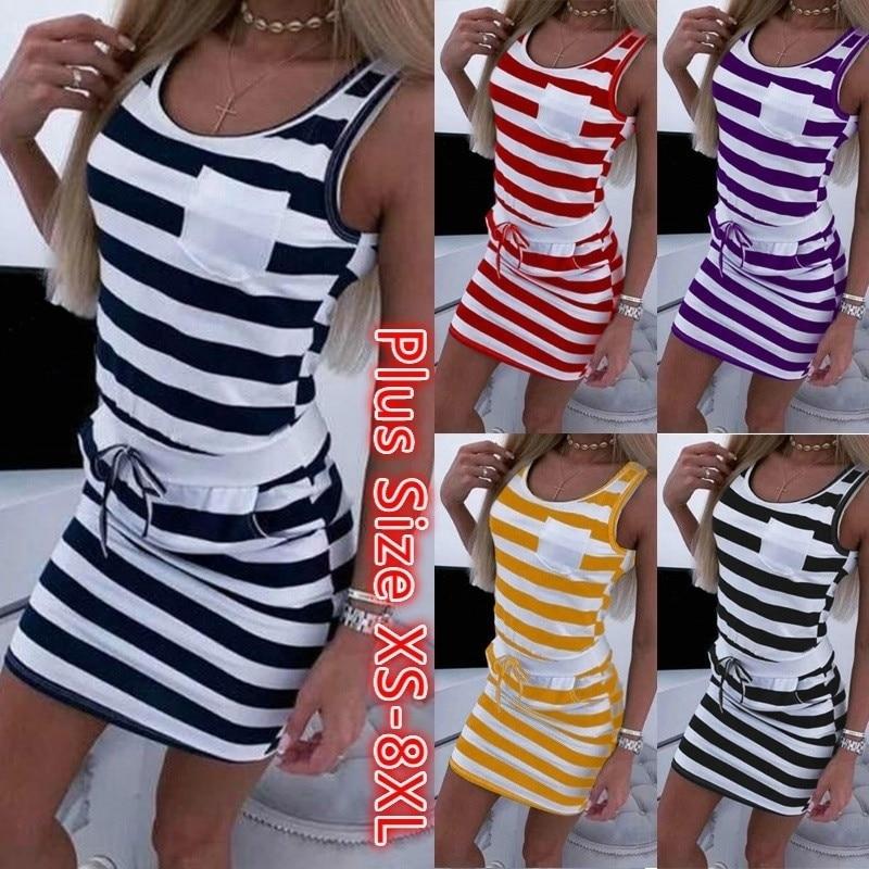 Plus Size Dress 2020 Summer Women Short Sleeved Casual Sleeveless Stripe Print Straight Dress Tunic Waist Dresses