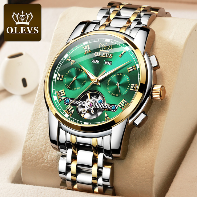 OLEVS Automatic Mechanical Men Watches Stainless Steel Waterproof Date Week Green Fashio Classic Wrist Watches Reloj Hombre 2